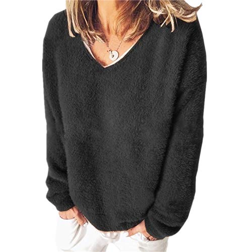 ZFQQ Autumn and Winter Women's Fleece Sweater V-Neck Solid Color Long-Sleeved Loose T-Shirt Sweater Black