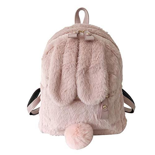 QPYYBR Mochila con orejas de conejo peludo, bolso de hombro para niñas bonitas, Mini mochila de felpa peluda y esponjosa, bolsa de viaje de invierno para mujer