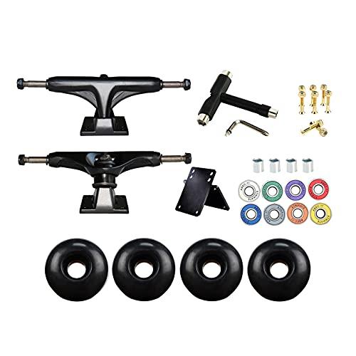 sharprepublic Juego de Ruedas de Skateboard Longboard, Ruedas de 52 mm, cojinetes de Skate, Almohadillas de Skate, Juego de herrajes para monopatín - T Tool Negro Negro