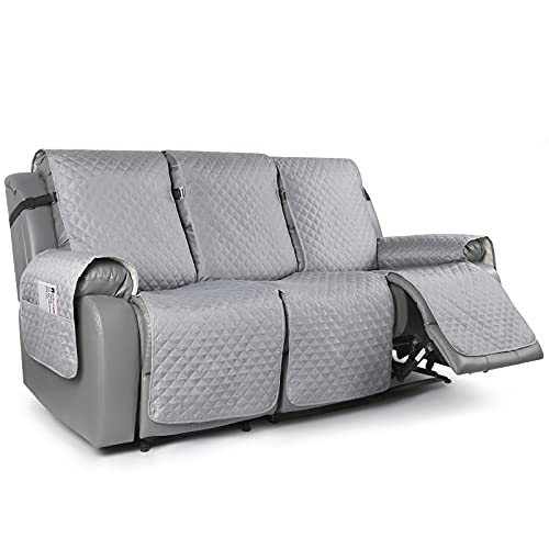 TAOCOCO Recliner Sofa Slipcover Couch Covers for 3 Cushion Couch, Pet Sofa Cover for 3 Seat Recliner Sofa, Washable Reclining Sofa Cover Furniture Protector with Elastic Straps(3 Seater, Light Gray)