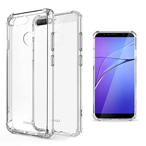 Moozy Transparent Silikon Hülle für Huawei Y6 2018 - Stoßfest Klar TPU Hülle Handyhülle Schutzhülle