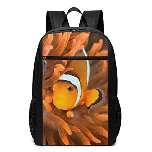 AOOEDM Clownfish im Marine Aquarium 17 Zoll Laptop Rucksack Grundlagen Computer Rucksack für Frauen und Männer