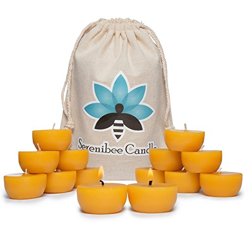 Beeswax tea lights candles pure hand-poured refills with reusable glass candle holder in organic cotton gift bag Eco Friendly Gift Set 12