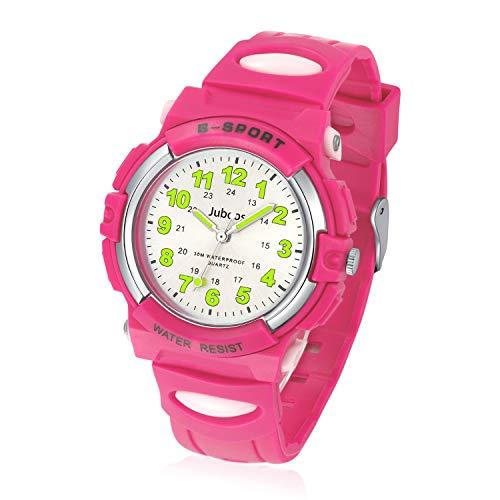 Juboos Kinderuhr Jungen M?dchen Analog Quartz Uhr mit Armbanduhr Gummi Wasserdicht Outdoor Sports Uhren-JU-001(Hot Rosa)