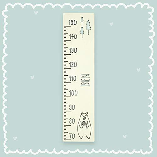 Messlatte Kind personalisiert, Größe messen Standard Bär Kinderzimmer, Kindermesslatte, Tauf-Geschenk/zur Geburt/Personalisiert mit Name für Mädchen oder Junge Babyzimmer Größenmesser