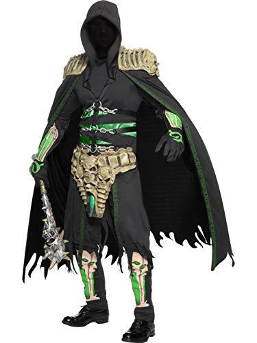 Karnevalsbud - Herren Männer Kostüm böserv dunkler Seelenfänger Sensemann Gevatter Tod, perfekt für Halloween Karneval und Fasching, M, Schwarz