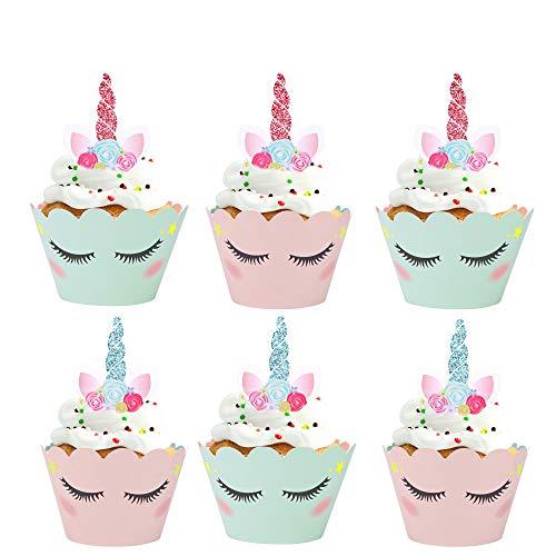 Konsait Kuchenaufsätze Einhorn Mini Cupcake Toppers und Wrappers Verpackung Beidseitig Handmade für Einhorn Kinder Party Kuchen Dekoration Hochzeit Geburtstag Deko (24 Stücke)
