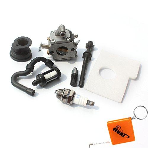 Carburateur et filtre à air Huri pour tronçonneuse Stihl 017 018 MS170 MS180 - Avec filtre à essence / huile, bougie d'allumage, collecteur d'admission - Rechange Zama C1Q-S57A / 1130 120 0603