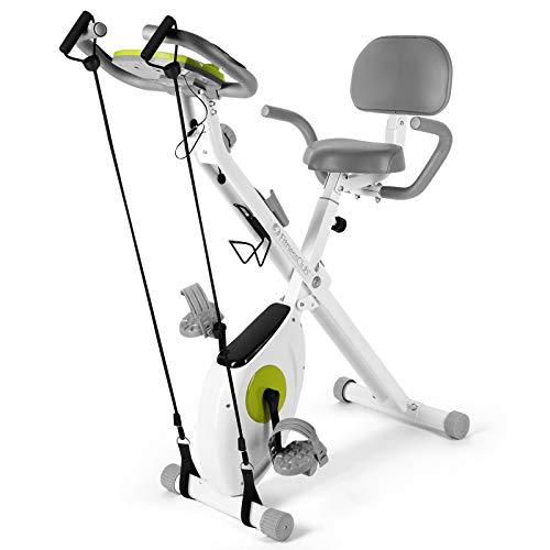 FitnessClub X-Bike Klappbar, Indoor Heimtrainer Fahrrad Höhenverstellbar, 8 magnetische Widerstandseinstellungen, mit Rückenlehne, Handpulsmessung und LCD Monitor, inkl. Spannungsseil