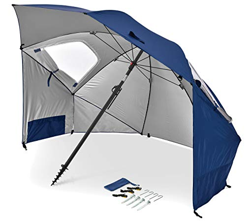 Sport-Brella Premiere UPF 50+ Umbrella Shelter for Sun and Rain Protection (8-Foot, Blue)