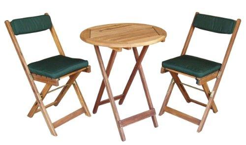 Balkonset Bistro-Set Kreta aus Akazie inkl. Kissen - klappbar, 2 Stühle 1 Tisch