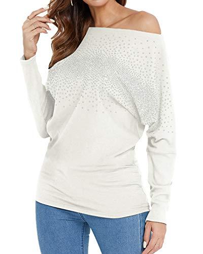 YOINS Zimne ramiona topy damskie cekiny na co dzień bluzka z długim rękawem workowate swetry damskie koszulki na jedno ramię
