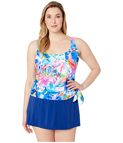 Maxine Of Hollywood Women's Scoop Neck Faux Tankini Swim Dress One Piece Swimsuit, Blue//Potpourri, 14