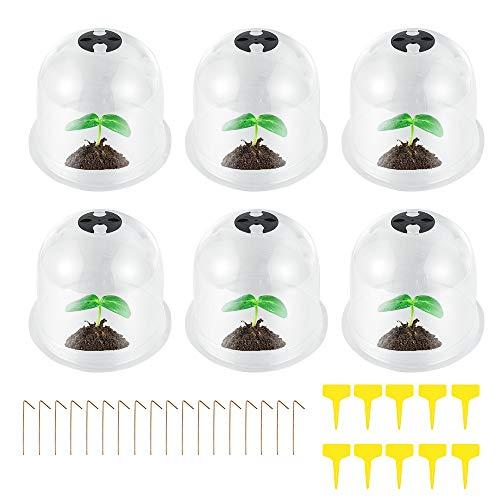 ATopoler 6 Pcs Cloches de Jardin Transparent Réutilisable Cloche de Dôme de Plante pour Réchauffer Plantes Protection Contre Gel avec Etiquettes et Piquets dancrage 26 x 21cm (6Pcs)