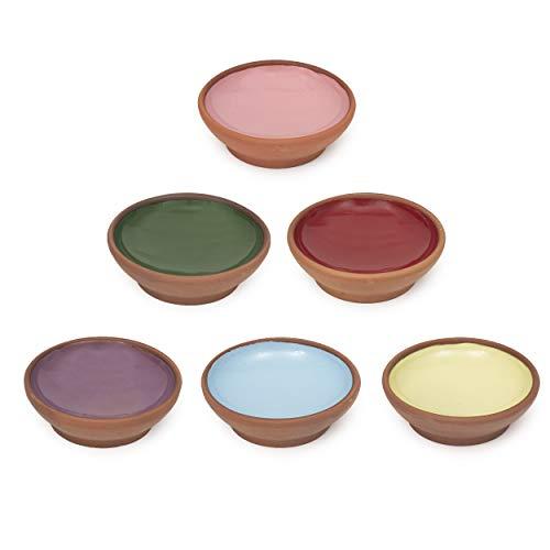 Kleine Terrakotta-Schalen 6er Set - Snack und Dipschalen für Nüsse, Olive, Dessert, Tapas, Sojasauce Dish - Bunte Deko Marokkanische Türkische Spanische Mexikanische Schalen - Terracotta-Schale