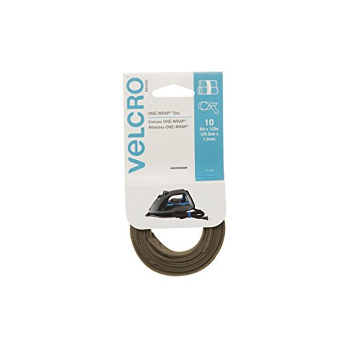 "VELCRO Brand ONE-WRAP Bundling Strap � Reusable Fasteners for Keeping Cords and Cables Tidy - 8"" x 1/2"", 10 Ties, Tan"
