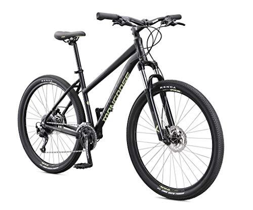 Mongoose Switchback Expert volwasse bergfiets, 9 snelhede, 27.5 duim-wiele, medium aluminiumraamwerk vir vroue, swart