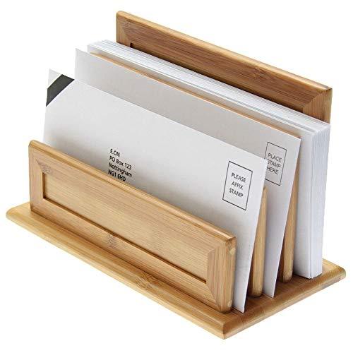 Porta-Lettere, Vassoio di Lettere, con 3 Scomparti, Realizzato in Bambù Naturale