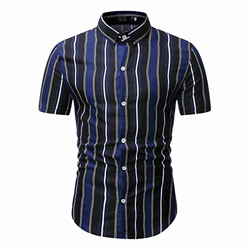 Camisa de los hombres de verano de los hombres casual a rayas de manga corta camisa de los hombres jersey slim