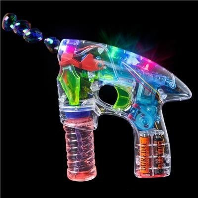Cascacavelle Pistola Burbujas Transparente con luz LED , Juegos para niños , Juego al Aire Libre y Deportes , Líquido Incluido! by