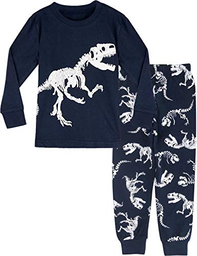 MOMBEBE COSLAND Pijama Dinosaurio Niños Manga Larga (5 años, Azul Marino)