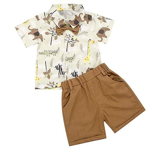 Completo Bambino 1-5 Anni Estivo 2 Pezzi Camicia Polo Shirt a Maniche Corte con Papillon + Pantaloncini Casual Hawaiano Vacanza (Beige + Cachi, 6-12 Mesi)