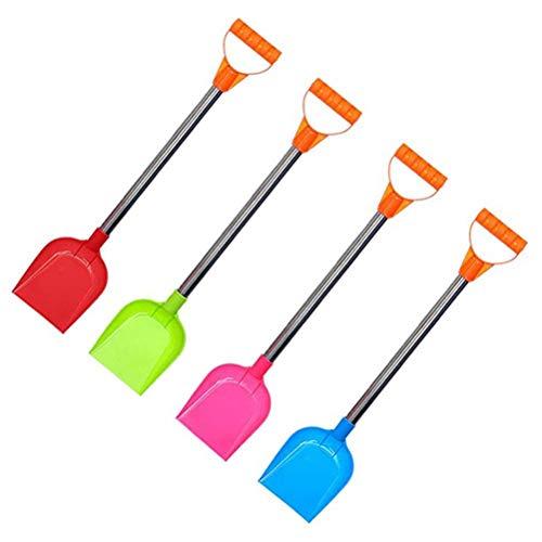 WINBST 4 piezas pala de nieve estable para niños, con mango de metal, pala de arena, pala de nieve de plástico, color aleatorio para playa, nieve, invierno, jardín y herramientas para niños