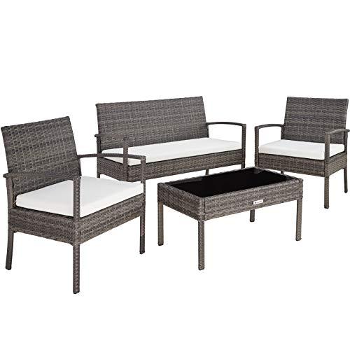 TecTake 800138 Salon de Jardin Table de Jardin en resine tressee chaises Salon d'exterieur Poly rotin - diverses Couleurs au Choix - (Gris | No. 403398)