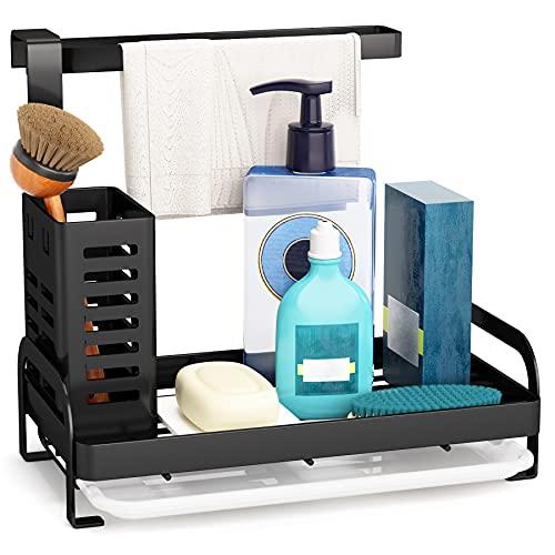 Sink Caddy Organizer, 1Easylife Sponge Holder Brush Dishcloth Holder Hanger Kitchen Sink Caddy Black Countertop with Drain Tray for Kitchen Bathroom