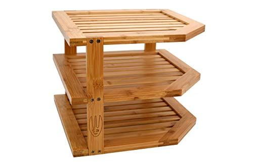 Wooglaste - Organizador de Cocina - Estante de Esquina - Portaplatos - Madera de Bambú - Tamaño Grande - 3 Niveles - Organización de la Encimera