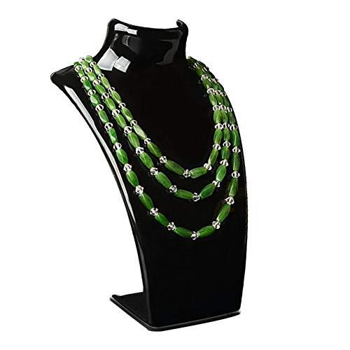 fiejns-zjy - Maniquí para colgar collares, joyas, colgantes, soporte para cuello, modelo de exhibición, estante transparente negro