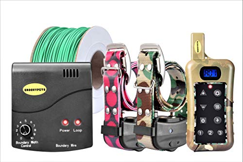 GROOVYPETS Remote Two Dog Hunting Training Shock Collar & Underground/In-Ground Electric/Electronic Containment Boundary Fence System Combo