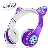 Kids Wireless Bluetooth Headphones, LED Flashing Lights, Music Sharing Function, Long Lasting Battery and 85db Volume Limited WOICE Children Bluetooth Headphones for Boys Girls (Purple)