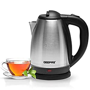Geepas 1800W 1.8L Electric Kettle – Stainless Steel Cordless Kettle – Auto Shut-Off & Boil-Dry Protection – Heats up Quickly & Easily – Boiler for Hot Water, Tea & Coffee Maker – 2 Year Warranty