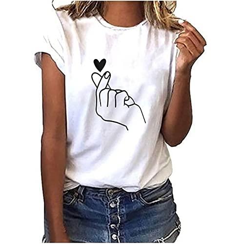 Camiseta básica suelta de manga corta para mujer