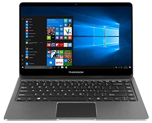 Ordenador portátil Thomson SPY14 de 14,1 Pulgadas con Intel Celeron N3350 de 1,10GHz, 4GB RAM, 64GB de Almacenamiento y Windows 10 - Gris Oscuro - Teclado Español