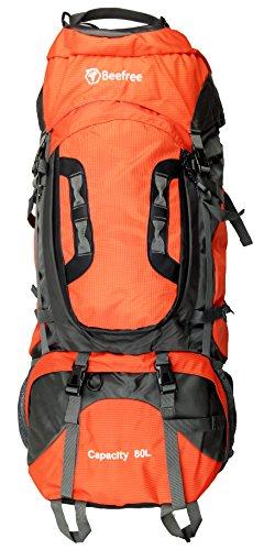 Beefree Outdoor Frontlader Klettern Wandern Trekking Reisen Rucksack Wasserdicht Groß 50L 70L 80L Rucksack (80L, Orange)
