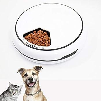 Distributeur automatique de nourriture pour chat - JanTeelGO Chargeur automatique pour chat et petit chien - Minuteur programmable - Enregistreur vocal - Écran LCD - 5 repas (Blanc)