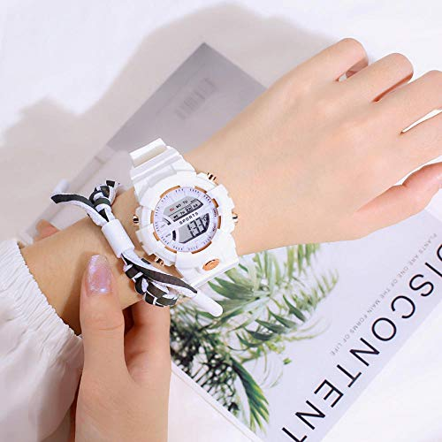 Reloj Niña 8 Años,Matcha Green Watch Femenino InS Estudiante de Viento Hongshen Simple Girl Heart Watch-Blanco