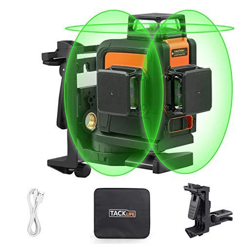 Nivel Láser, TACKLIFE SC-L08 Nivel Láser Cruzado 3 x 360, Rango de Trabajo 40m, Línea Láser Autonivelante Verde, Modo de Pulso Externo, Puerto de Carga USB, Batería de Litio, Base Magnética
