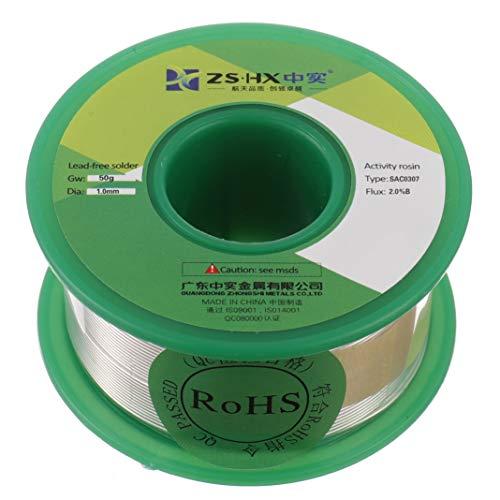 ZSHX Fil de soudure sans plomb Sn99% Ag0.3% Cu0.7% Colophane fil de soudure pour la soudure électrique (1.0mm 50g)