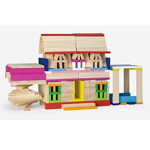 Viga Toys - 50956 - Forme À Trier Et À Empiler - Barrettes De Bois Fantaisies À Construire - 250 Pièces
