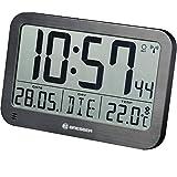 Bresser 7001803 - Orologio da parete digitale MyTime MC LCD, 225 x 150 mm, con termometro nero