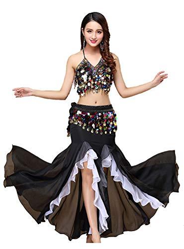 ORIDOOR Women's Belly Dance Dress Belly Dance Crop Top Bra Top and Belt Chiffon Dancing Skirts Costume 3-Piece Outfit Black