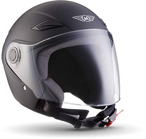 "Moto Helmets® U52 ""Matt Black"" · Jet-Helm · Motorrad-Helm Roller-Helm Scooter-Helm Bobber Mofa-Helm Chopper Retro Cruiser Vintage Pilot Biker Helmet · ECE Visier Schnellverschluss Tasche XS (53-54cm)"