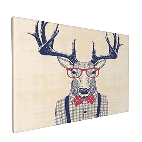 PATINISA Ciervo disfrazado de nerd con camisa y lazo de jazz Painting Cuadro sobre Lienzo Canvas Wall Art para Colgar Impresin de la Lona 45x30cm