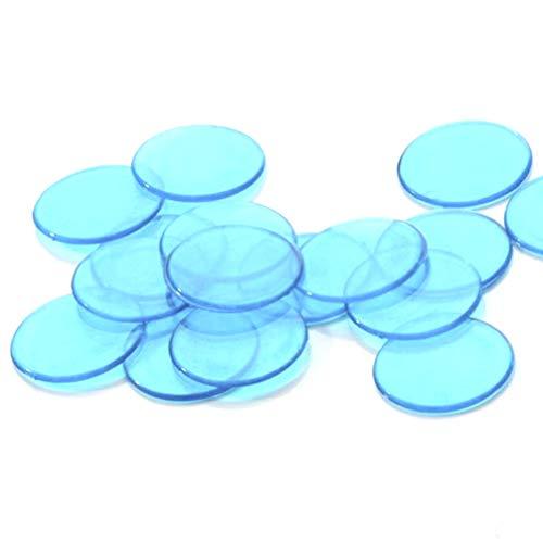 NUOBESTY 40Pcs Farbige Bingo-Chips Klare Bingo-Zählchip-Kunststoffscheiben Marker für Mathe-Praxis Poker-Chips-Spiel (Blau)