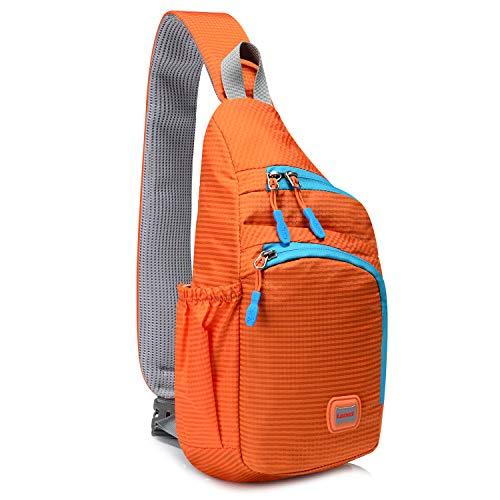 Lecxci Outdoor Chest Sling Bag Lightweight Waterproof Backpack for Kid/Man/Women (M ,orange)