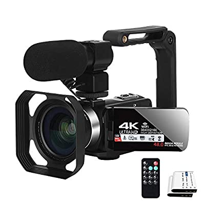 Video Camera YouTube Camera for Vlogging 4K Camcorder WiFi Ultra HD 30FPS 48MP 16X Digital Zoom Video Conference Camera and Microphone Remote Control with Handheld Stabilizer from XIYXIN