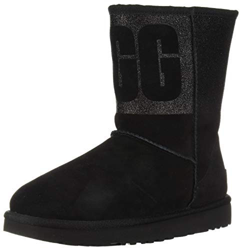 UGG Women's W Classic Short Sparkle Fashion Boot, black, 11 M US